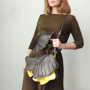 Designer Shoulder Bags On Sale. Ginkgo Clutch Brown by Diana Ulanova. Buy on women-bags.com