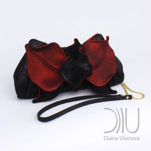 Luxury Clutch. Orchid Clutch Black/Red Shimmer by Diana Ulanova. Buy on women-bags.com