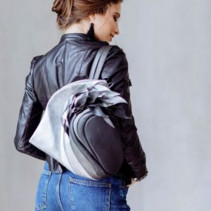 Womens Leather Backpack. Savanna Black/Grey by Diana Ulanova. Buy on women-bags.com