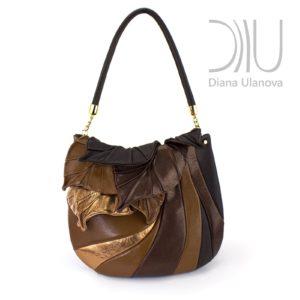Designer Over Shoulder Bags. Autumn Legend Brown Gold by Diana Ulanova. Buy on women-bags.com