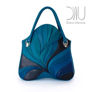 Ladies Designer Handbag. Feather Maxi Blue by Diana Ulanova. Buy on women-bags.com