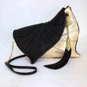 Designer Clutch Bag. Leaf Drop Black/Gold by Diana Ulanova. Buy on women-bags.com