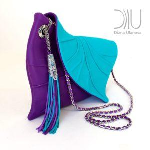 Designer Evening Bags Clutches. Leaf Drop Purple/Light Blue 2 by Diana Ulanova. Buy on women-bags.com