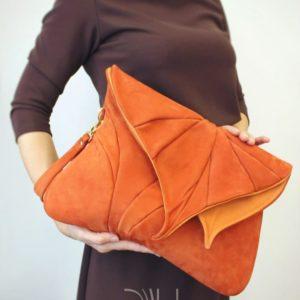 Designer Over Shoulder Bags. Leaf Maxi Orange 2 by Diana Ulanova. Buy on women-bags.com