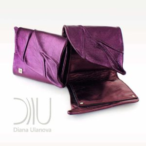 Designer Purse Sale. Leaf Wallet Purple Metallic by Diana Ulanova. Buy on women-bags.com