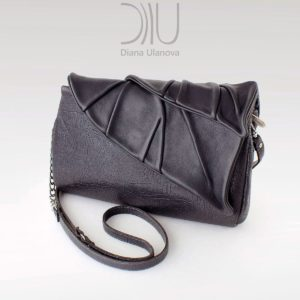 Designer Clutch Purses. Leaves Clutch Black by Diana Ulanova. Buy on women-bags.com