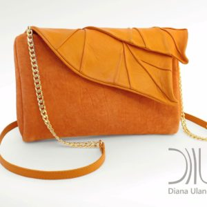 Clutch Bags Designer Sale. Leaves Clutch Orange 1 by Diana Ulanova. Buy on women-bags.com