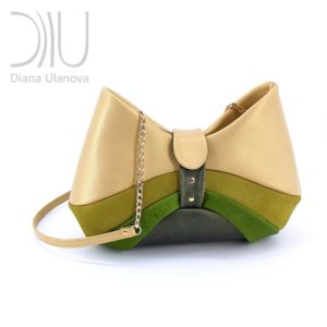 Shoulder Bag Designer. Bow Beige Green by Diana Ulanova. Buy on women-bags.com