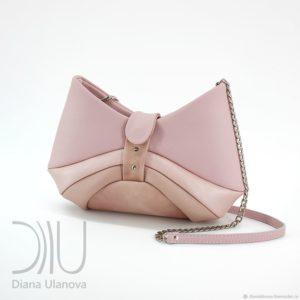 Designer Shoulder Bag. Bow Pink by Diana Ulanova. Buy on women-bags.com
