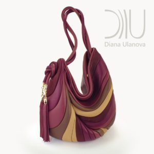Shoulder Bag Designer. Feather Burgundy by Diana Ulanova. Buy on women-bags.com