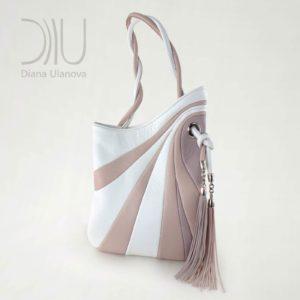 Designer Shoulder Bag. Sputnik Maxi White/Beige 2 by Diana Ulanova. Buy on women-bags.com