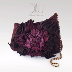 Designer Evening Clutch Bags. Peony Clutch Burgundy by Diana Ulanova. Buy on women-bags.com