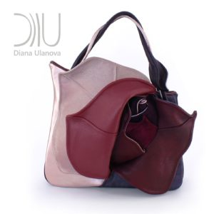 Designer Top Handle Bag. Rosebud Grey/Beige by Diana Ulanova. Buy on women-bags.com