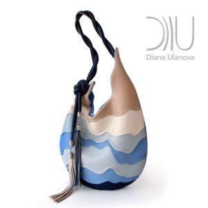 Designer Shoulder Bags. Hive Blue/Beige by Diana Ulanova. Buy on women-bags.com
