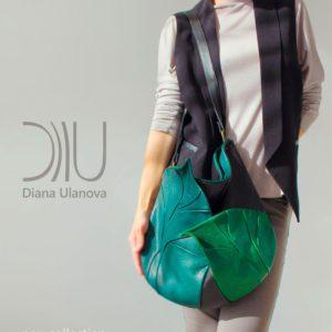 Designer Shoulder Bag. Leaves Black Green 2|Leaves Dark Brown by Diana Ulanova. Buy on women-bags.com