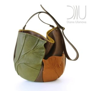 Designer Shoulder Bags On Sale. Leaves Dark Brown by Diana Ulanova. Buy on women-bags.com