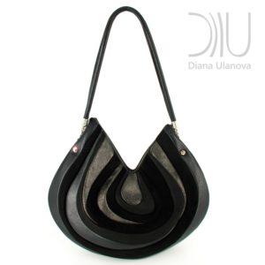 Designer Over Shoulder Bags. Stone Black by Diana Ulanova. Buy on women-bags.com